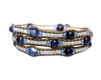 Wrap Bracelet Blue Jeans – sodalite, opal and old school leather 601