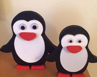 MDF Hand Painted Penguins Cute Christmas Decoration or for penguin lovers