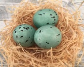 Faux Robin Eggs Set of 3, Blue Speckled Egg Craft Supply, Bird Eggs, Hat & Floral Supplies, Crafting Supply