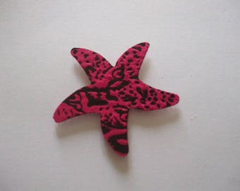 Star Pink and black sea below velcro placed on hair