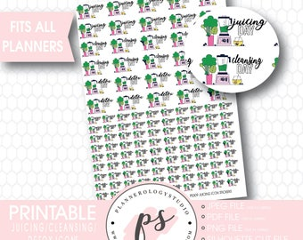 Green Juicing/Detox/Cleansing Icons | Digital Printable Planner Stickers | JPG/PDF/Silhouette Compatible Cut