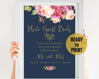 Photo Wedding Guest Book Sign, Guest Book Alternative, Navy Wedding, Bohemian Wedding, Boho Wedding, Instant Download, PDF, IDWS502_07S