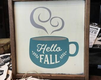 Hello Fall Coffee Cup Wood Sign - Farmhouse - Kitchen Decor - Home Decor