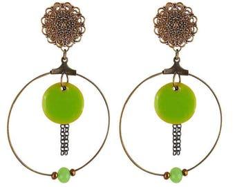 Green Zen (made in France) clip earrings