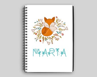Fox with Flowers Notebook ~ Personalized Fox Journal ~ Custom Fox Diary ~ Fox Child's Notebook ~ Personalized Gift ~ Child's Diary ~ Fox