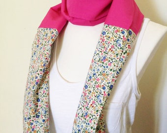 Fuschia and flowers scarf