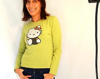 Hello Kitty shirt long sleeved tee t-shirt kawaii vegan shirt green cute tee women vintage size Small