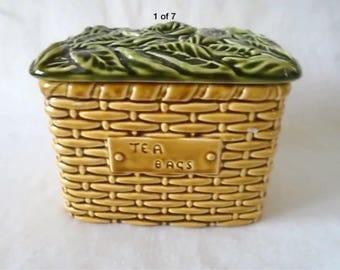 VINTAGE SYLVAC POTTERY 5038 tea bags basket container & lid