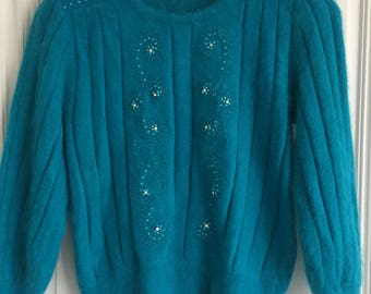 1980's fluffy mohair jumper with embelshments