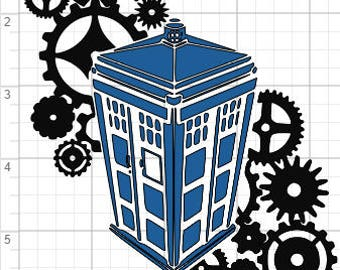 Doctor Who Inspired Tardis and Gears Design SVG PDF EPS Dxf & Studio 3 Cut Files