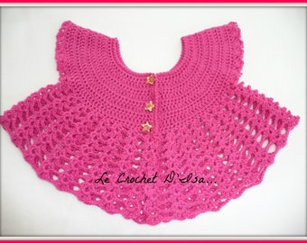 BABY CROCHET SLEEVELESS CARDIGAN