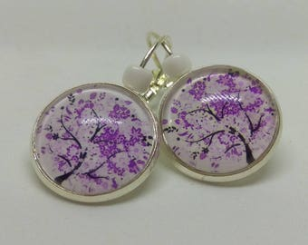loop 925 Silver earrings, tree of life, mauve and purple cabochon