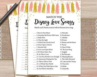 Disney Love Songs Bridal Shower Game - Printable Coral and Gold Bridal Shower Disney Love Song - Coral Bridal Shower Blush Bridal Shower 037