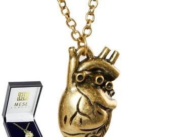 Anatomically Correct Heart Necklace Bronze Pendant - Elegant Gift Box