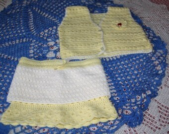 set skirt + yellow and white 9/12 moisau crochet tank top