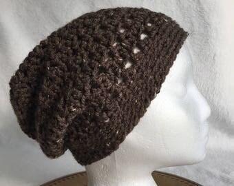kids adult slouch crochet brown tweed hat