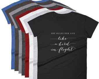 Stevie Nicks Rhiannon Women's T-Shirt, Ringspun Cotton Short Sleeve top, Fleetwood Mac Tee, Calligraphy Quote S to 2XL Christmas Gift Shirt