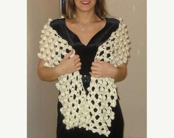 Ready to ship, Crochet Ivory Wedding Scarf/Shawl with bobbles Bridal Shawl Lace Shawl Bridal Shrug Wedding Bolero Wrap Bridal Accessories