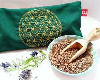 Eye pillows, relaxation, meditation, wellness, flower of life, lavender, flax seed, wellbeing, dark green, gold, embroidery,