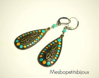drop earrings yellow and blue spirit Bohemian