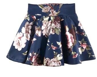 Navy Floral Skater Circle Skirt