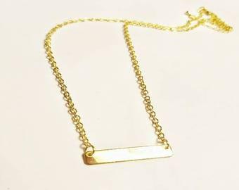 Bar Necklace, Silver, Gold Filled, Rose Gold