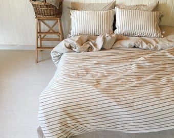 Natural Linen Bedding Set 4 pcs Stripe double sided gift for him