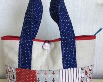 Knitting/Craft Tote Bag -Sail Away