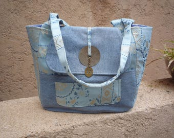 Big bag in jeans and blue printed satin