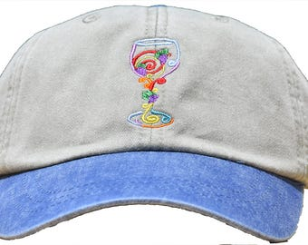 Custom - Baseball Cap - Decorative Wine / Champagne Glass-> 20 Colors/12 Glasses-Select Your Hat and Design