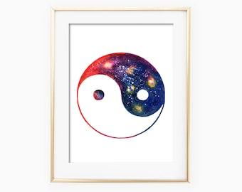 Yin Yang Symbol Watercolor, Yin Yang Watercolor, Yin Yang Painting, Yin Yang Watercolor Art, Yin Yang Artwork, Yin Yang Art Print, Zen Art