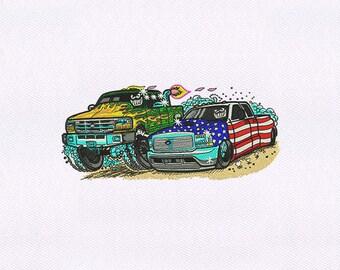 Truck and Patriotic Car Embroidery Design | 4x4 Hoop Embroidery Design | Machine Embroidery Design | Embroidery Designs | Emb Design