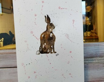 A4 Hare, with gentle Grey speckles & Rose splashes. Original watercolour painting.
