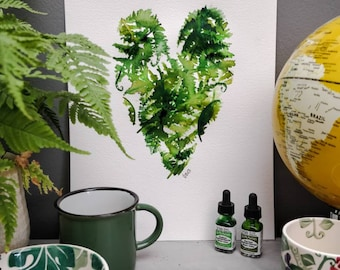 Heart of Ferns, original watercolour painting. A3.