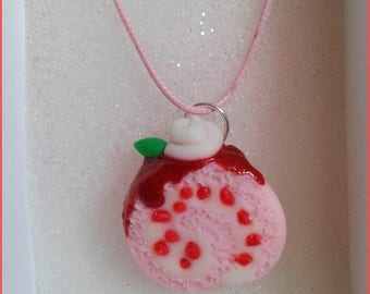 Strawberry roll with whipped cream necklace