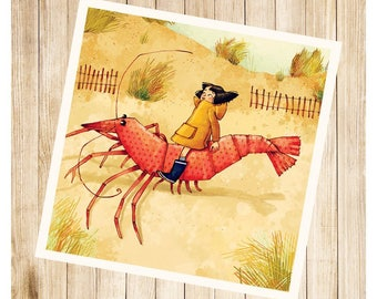 """John and his shrimp"", square post card."