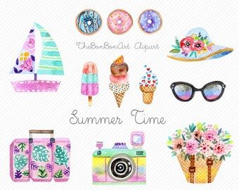 Watercolor summer clipart.Watercolor dessert clipart.beach clipart. Summer Hand paint clipart.Travel Clipart.holiday clipart. glitter flower