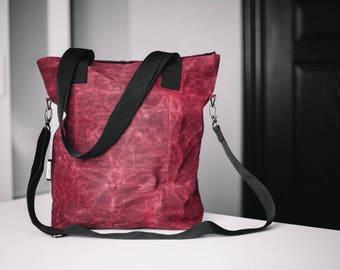 Tote Bag, Waxed canvas bag, Red bag, Raspberry bag, Cross body bag, Shoulder bag, Cotton bag, Shopping bag, Work bag, School bag, Unisex