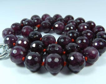 Set of 4 10mm purple faceted glass beads