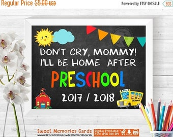 """50% OFF SALE Stop Crying Mom, Don't Cry Mommy, First Day Of Preschool Sign Printable, Printable """"Stop Crying Mom"""", Boy, INSTANT  Download"""