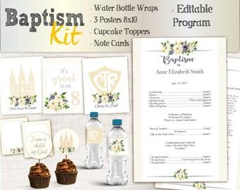 Baptism Girl Kit - Editable LDS Baptism Program, Cupcake Toppers, Water Bottle Wraps, Note Card, Poster Baptism, Instant Download