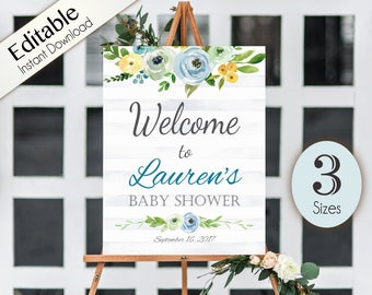 Welcome Sign Baby Shower Template, Editable, ANY EVENT, Printable, Instant Download, Bridal Baby Wedding Baptism Birthday Shower Sign, Blue