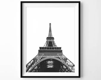 Eiffel Tower Print, Black & White Printable, Paris Photography, Modern Wall Art, City Photo, Architecture Poster, Urban Decor, Digital File