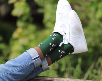 Ostrich socks | Men socks  | animal socks | green socks | cool socks | colourful socks | men socks | Gift socks  | Vintage socks |