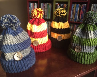 Adult-Harry Potter/Gryffindor/Ravenclaw/Hufflepuff/Slytherin Knit Hat