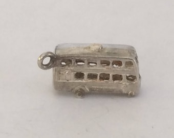 Sterling silver London Double deckerBus charm vintage #658 s