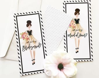 Will You be my Bridesmaid & MoH Cards (set of 4)