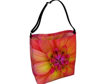 Floral Tote Bag, Large Crossbody Totebag, Adjustable Strap, Pink Orange Library Book Bag, Carry All, Beach Yoga Big Grocery Bag Eco Friendly
