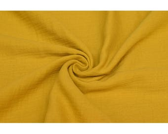 Cotton Double Gauze Fabric - Solid in Ochre Yellow - Swaddle Muslin Fabric - UK Seller