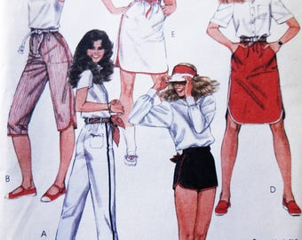 Vintage 80s Brooke Shield Collection Skirts, Shorts, Pants McCall's 8577 Sewing Pattern Size Extra-Small